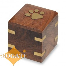 Wood Pet Keepsake Urn Brass Paw and Brass Corners 1.5 cu. in. – NM-5075-K