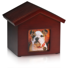 Birch Wood Photo Frame Dog House Cremation Pet Urn – B015