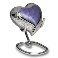 Elegant Colored Enamel and Silver Color Cremation Urn – Heart Keepsake