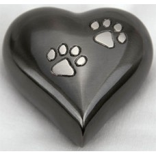 Brass Keepsake Paw Print Heart