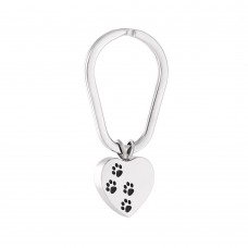 Stainless Steel Cremation Urn Key Chain – Heart – Paw Prints