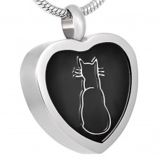 J-026 Stainless Steel Cremation Urn Pendant with Chain – Heart – Cat