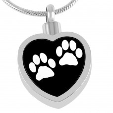 J-027-W Stainless Steel Cremation Urn Pendant with Chain – Heart – Two White Paw Prints