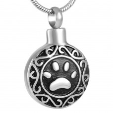 J-028 Stainless Steel Cremation Urn Pendant with Chain – Circle – Single Paw Print
