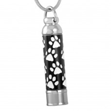 J-076-W Stainless Steel Cremation Urn Pendant with Chain – Cylinder with White Paw Print Design