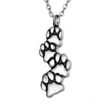 J-103 Stainless Steel Cremation Urn Pendant with Chain – Four Paw Prints