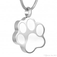 J-1290 Stainless Steel Cremation Urn Pendant with Chain – White Paw Print