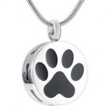 J-622 Stainless Steel Cremation Urn Pendant with Chain – Circle with Paw Print in Black & Silver