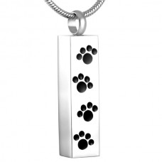 J-600 Stainless Steel Cremation Urn Pendant with Chain – Cylinder with Four Paw Prints