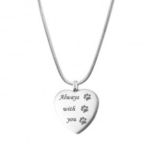 J-625 Stainless Steel Cremation Urn Pendant with Chain – Heart – Paw Prints – Always with You