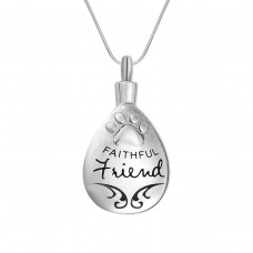 J-627 Stainless Steel Cremation Urn Pendant with Chain – Tear Drop – Faithful Friend