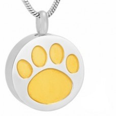J-738 Stainless Steel Cremation Urn Pendant with Chain – Circle with Golden Paw Print