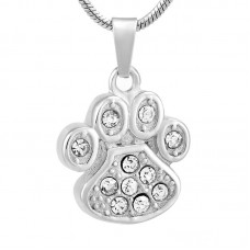 J-756 Stainless Steel Cremation Urn Pendant with Chain – Paw Print with Clear Stones