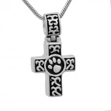 J-786 Stainless Steel Cremation Urn Pendant with Chain – Cross and Paw Print
