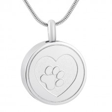 J-883 Stainless Steel Cremation Urn Pendant with Chain – Heart and Paw Print