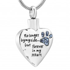J-HBPP Stainless Steel Cremation Urn Pendant with Chain – Heart – Blue Paw Print