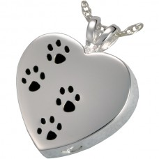 J-004 Stainless Steel Cremation Urn Pendant with Chain – Heart – Paw Prints