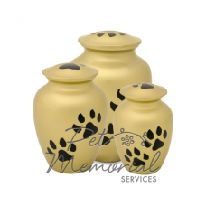 Paw Print Classic Urn - Gold & Black