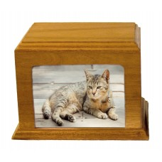Wood Finish Picture Urn