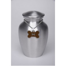 Alloy Urn Silver Color – Small – with Brown Bone-Shaped Medallion – AU-CLB-S-Brown