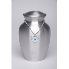 Alloy Cremation Urn Silver Color – Small – with White Kitty Cat-Shaped Medallion – AU-CLB-S-White
