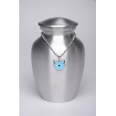 Alloy Cremation Urn Silver Color – Small – with Baby Blue Kitty Cat-Shaped Medallion – AU-CLB-S-Baby Blue