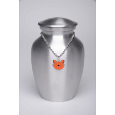 Alloy Cremation Urn Silver Color – Small – with Orange Kitty Cat-Shaped Medallion – AU-CLB-S-Orange