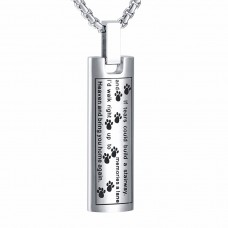 J-137 Stainless Steel Cremation Urn Pendant with Chain – Cylinder with Poem